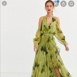 ISO ASOS cold shoulder maxi dress in green floral